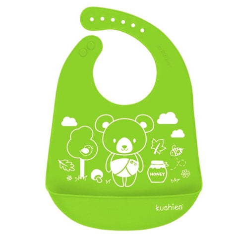 Babador De Silicone Kushies Bear Green