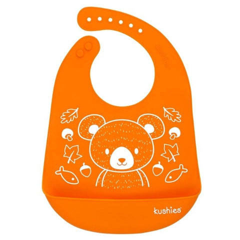 Babador De Silicone Kushies Bear Orange