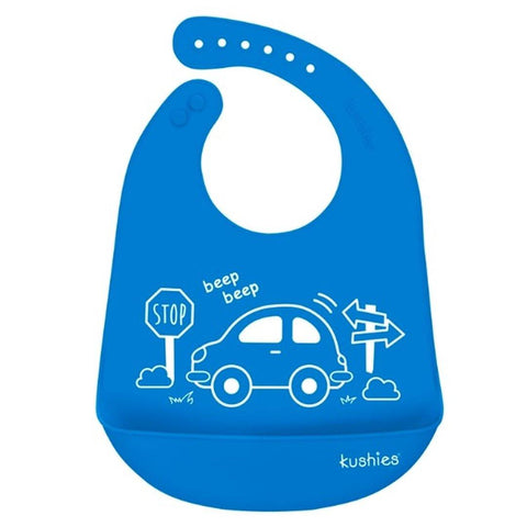Babador De Silicone Kushies Car Blue