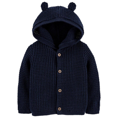 Cardigan Carter's Hooded Bear Navy