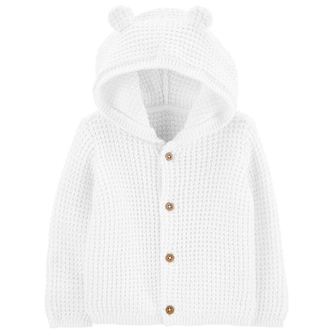 Cardigan Carter's Hooded Bear White