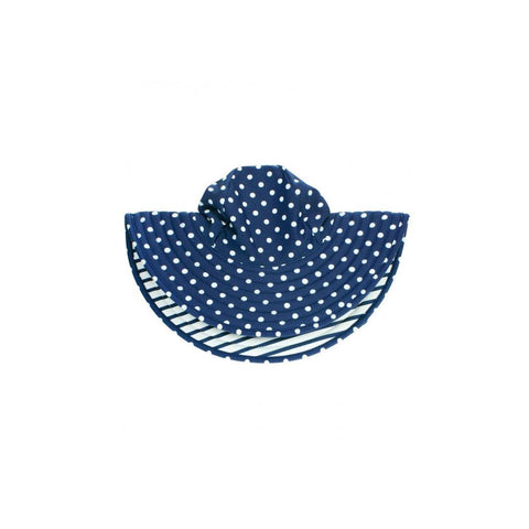 Chapéu Ruffle Butts Navy Polka Dot FPS50+