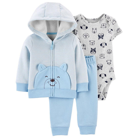 Conjunto Carter's Little Jacket 3 Peças Striped Bear Blue