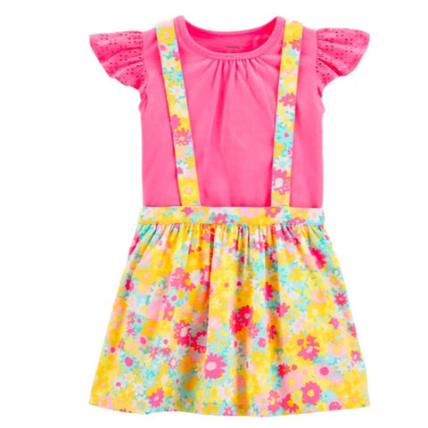 Conjunto Carter's Skirtall Floral Yellow & Pink