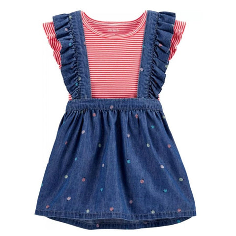 Conjunto Carter's Skirtall Striped Joaninha