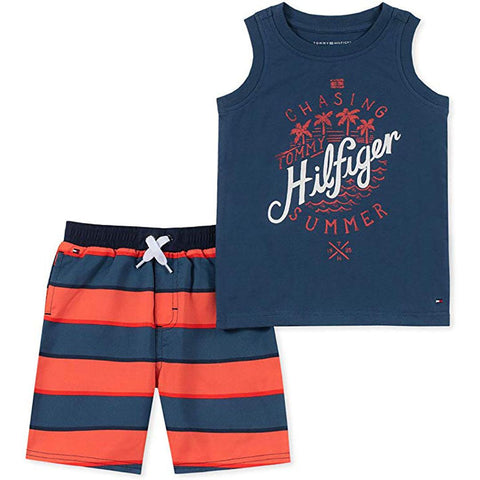 Conjunto Tommy Hilfiger Short Striped Navy