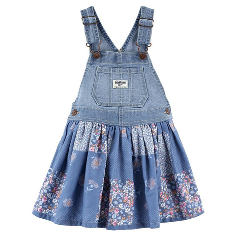 Jardineira Oshkosh Denim Blue Floral
