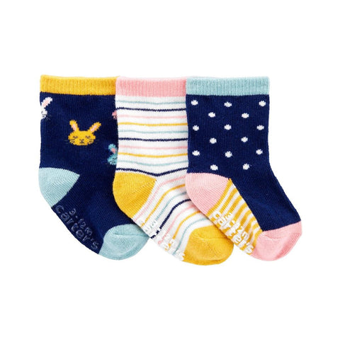 Kit Meia Carter's 3 Pares Bunny Multicolor