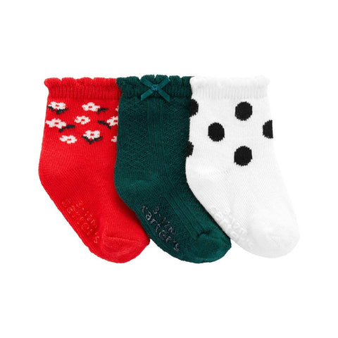 Kit Meia Carter's 3 Pares Christmas Girl