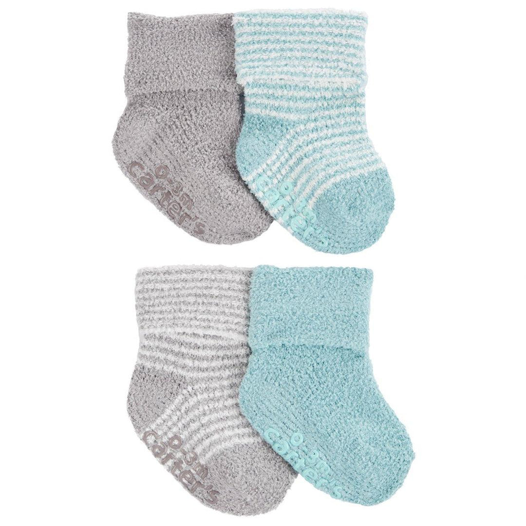 Kit Meia Carter's 4 Pares Striped Blue & Grey