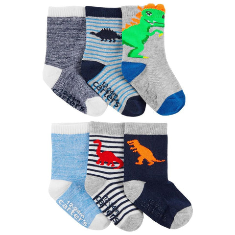 Kit Meia Carter's 6 Pares Dinossauro Multi Colors