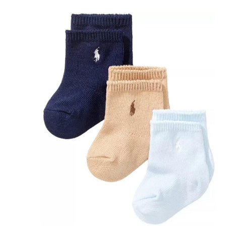 Kit Meia Polo Ralph Lauren Baby 3 Pares Basic Boy