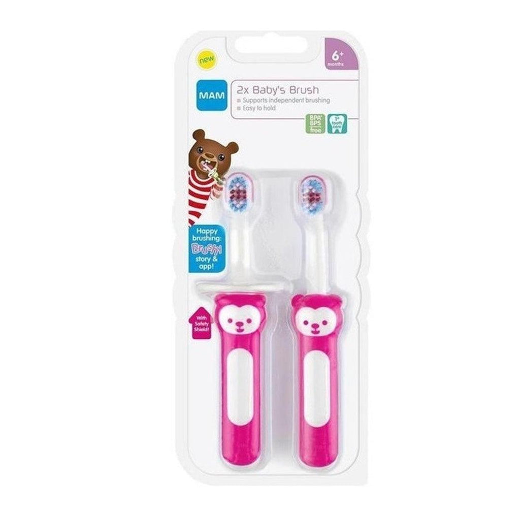 Kit Escova Dental Baby's Brush Bear Pink 6M+