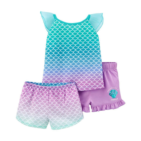 Kit Pijama Carter's 3 Peças Mermaid Purple