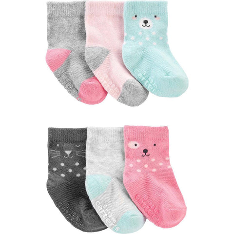 Kit Meia Carter's 6 Pares Bear Multi Colors