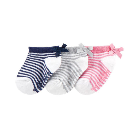 Kit Meia Carter's Ancle 3 Pares Striped Lace