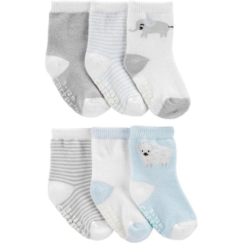 Kit Meia Carter's 6 Pares Animals Grey