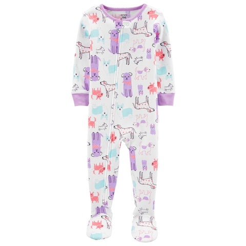 Macacão Carter's Cotton Footie PJs Dogs Purple
