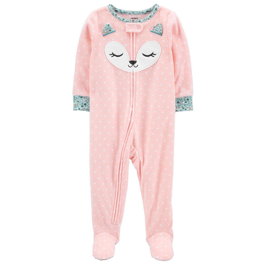 Macacão Carter's Footie Fleece Fox Pink