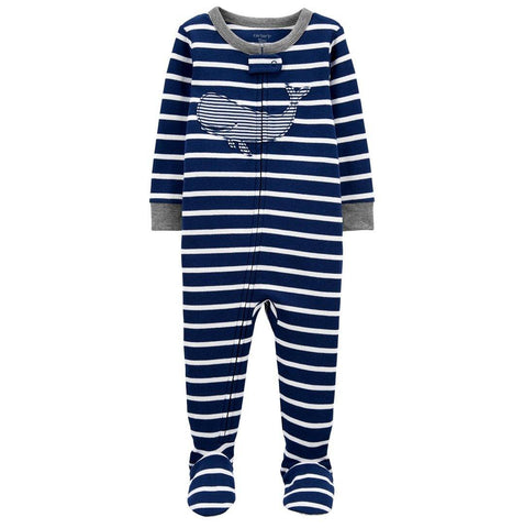 Macacão Carter's Footie Whale Navy Stripes