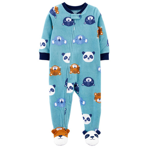 Macacão Carter's Pjs Fleece Animals Blue