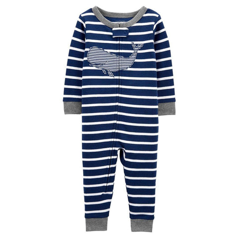 Macacão Carter's Pjs Footless Whale Stripes Navy