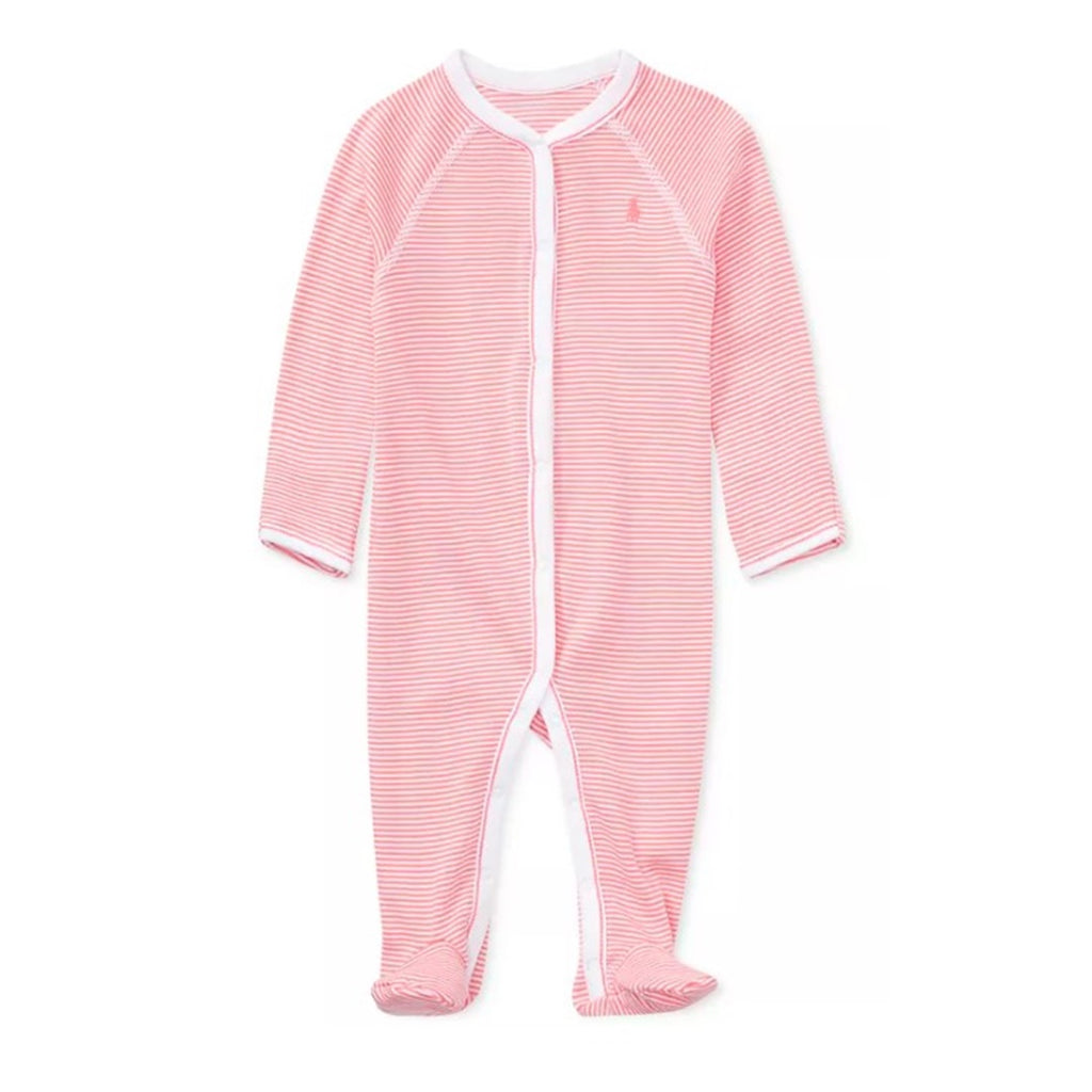 Macacão Polo Ralph Lauren Baby Striped Pink
