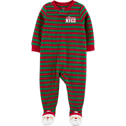 Macacão Carter's Pjs Fleece Striped Papai Noel