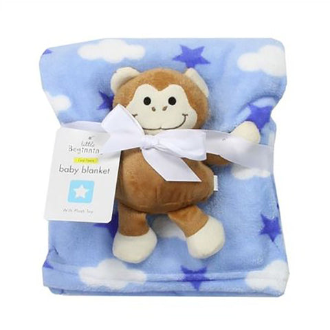 Manta com Pelúcia Little Beginnings Macaquinho Blue