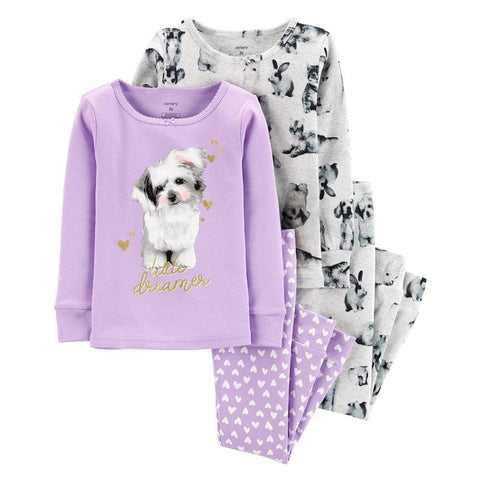 Kit Pijama Carter's 4 Peças Dog Purple Cute