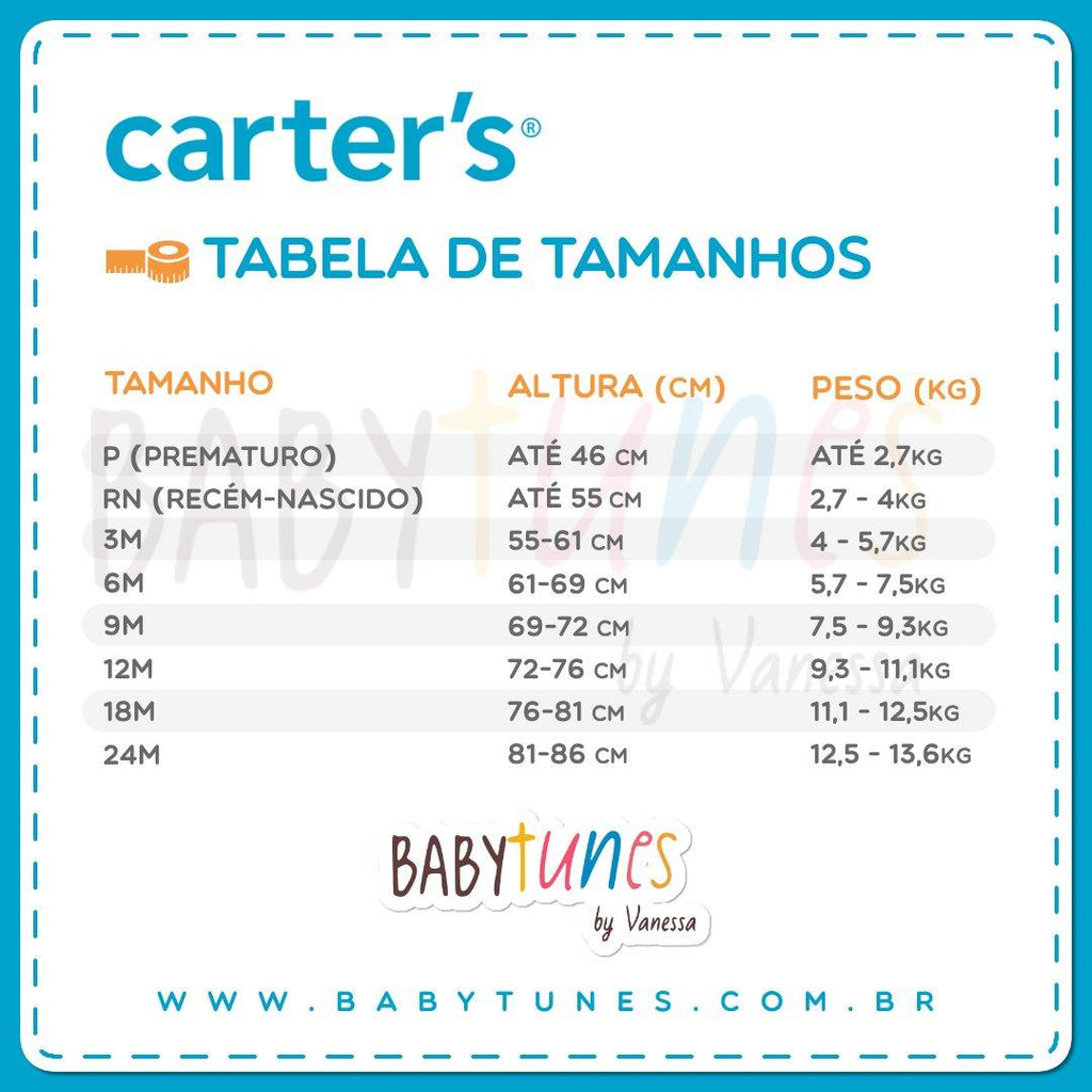 Kit Body Carter's Manga Longa 4 Peças Heather