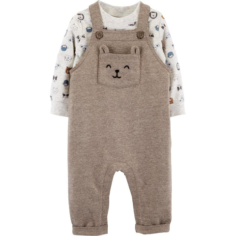 Conjunto Carter's Knit Overalls Bear Brown