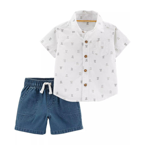 Conjunto Carter's Little Short Bear Button