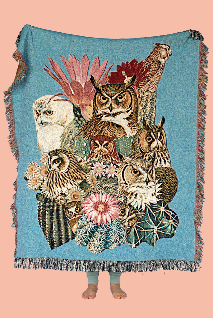 Owl Cacti Throw Blanket