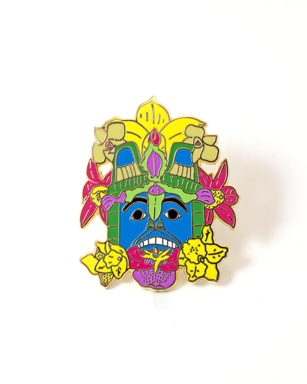 Flower Mask Enamel Pin
