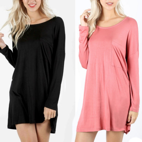SKYE Long Sleeve Oversized Tunic with Chest pocket