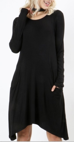 MARLEE Long Sleeve Princessline Pocket Tunic Dress