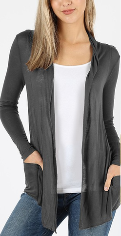 JOURNEY Waterfall Drape Cardigan with Pocket (light weight sheer hacci)