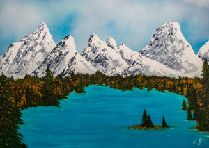 Bow valley mountains painting