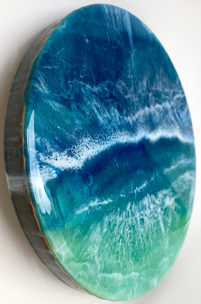 ocean resin art on cradled birch panel