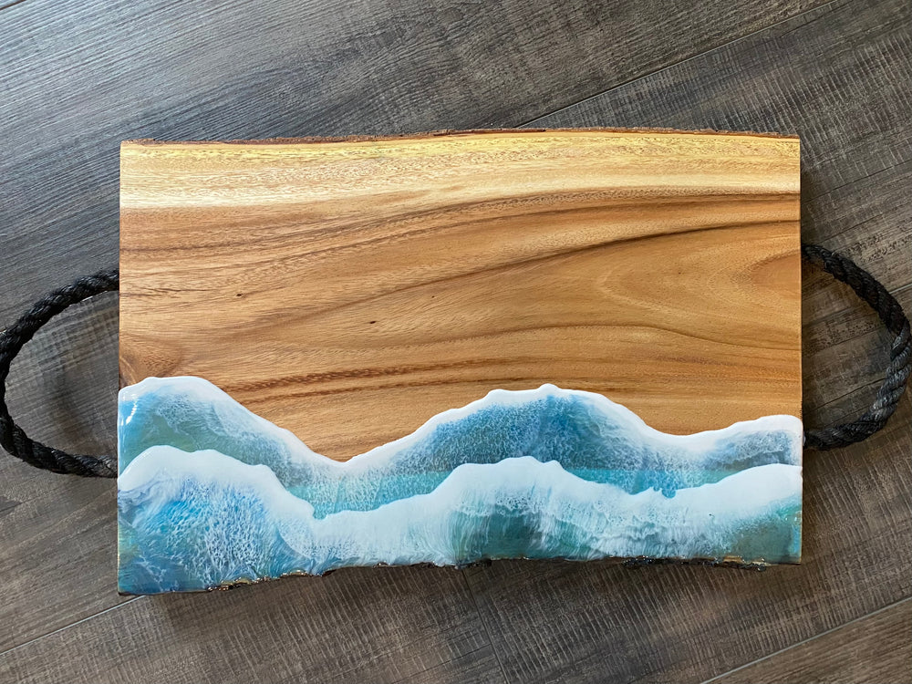 Live Edge Charcuterie Board with Rope Handles