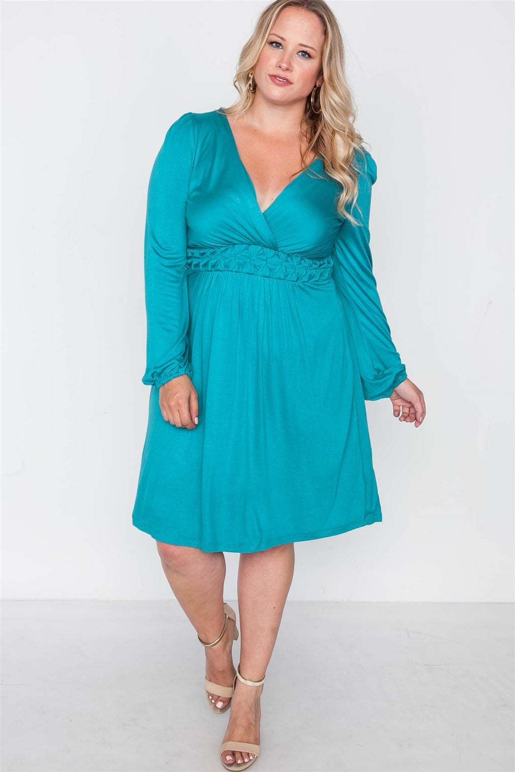 Plus Size Shoreline Turquoise Ling Sleeve Dress