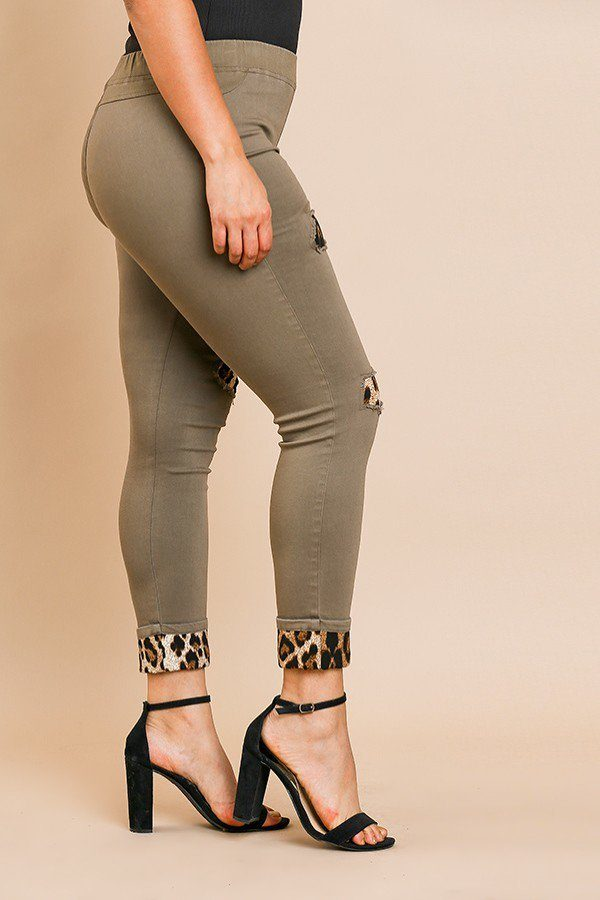 Skinny Pants With Animal Print Patches And Rolled Cuff Hem