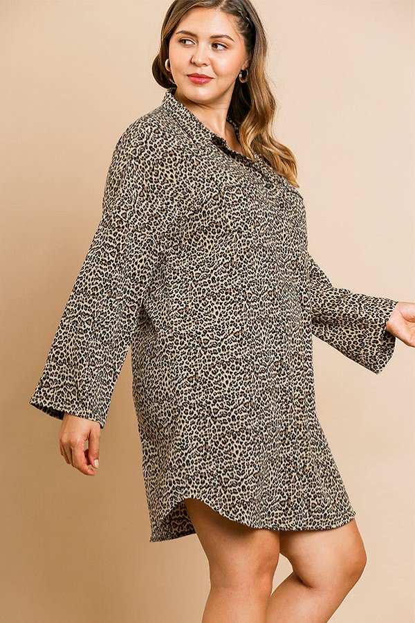Animal Print Long Sleeve Collared Dress With Chest Pockets And Scoop Hem