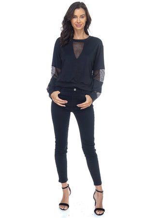 Mesh Long Sleeve Pullover Sweater