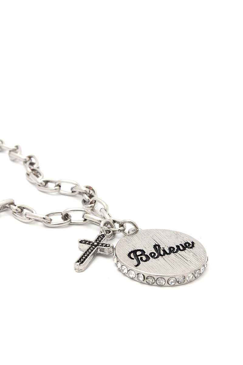 Believe Engrave Metal Circle Pendant Necklace