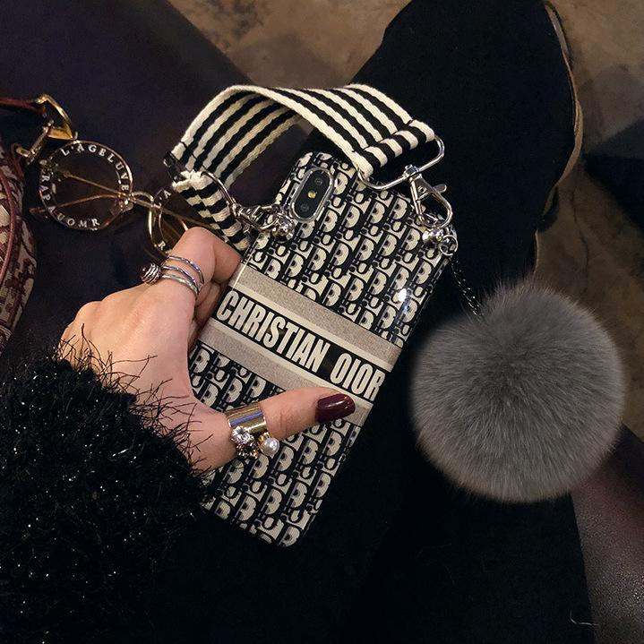 Extravagant Shoulder Bag Design iPhone Case with Furry Ball & Strap