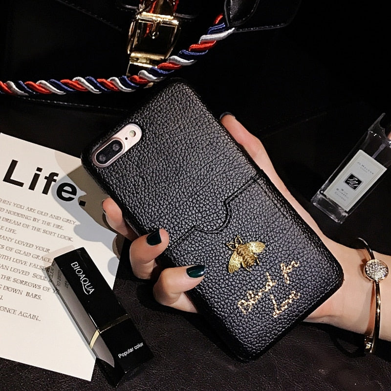 Luxury Fashion brand case with Classic 3D Metallic Bee