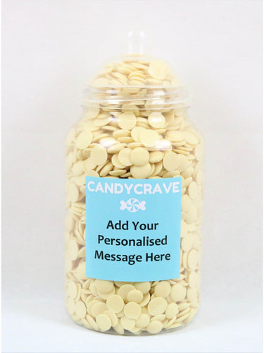 White Chocolate Buttons Giant Retro Jar