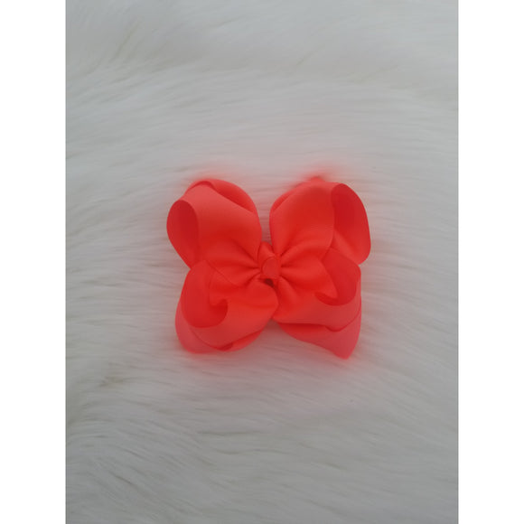 Neon Coral Double Ribbon Bow